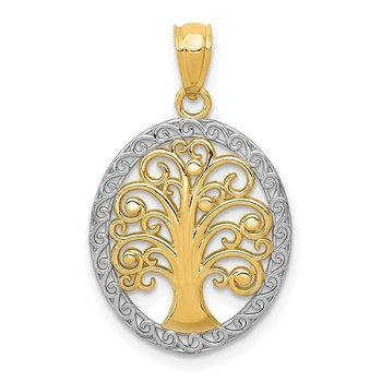 14k w/ Rhodium Tree of Life Pendant