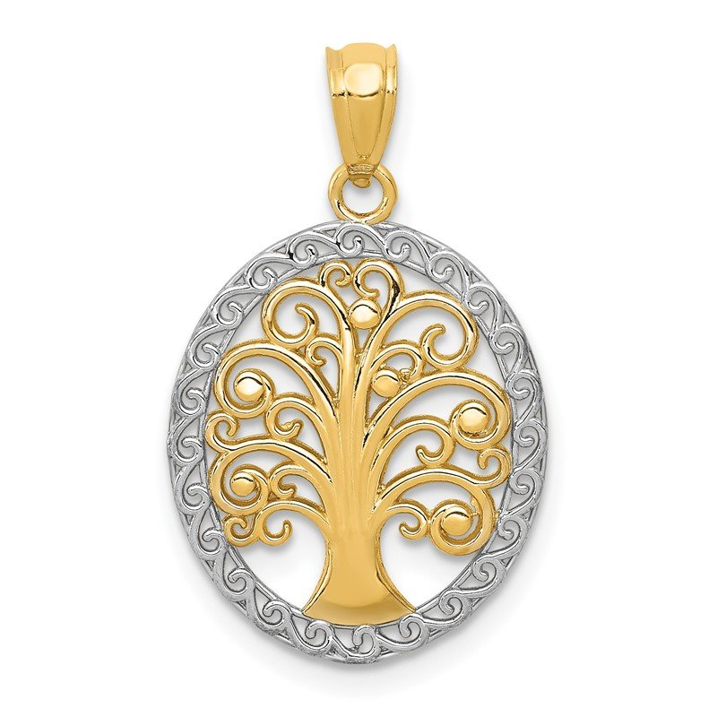 Quality Gold 14k w/ Rhodium Tree of Life Pendant