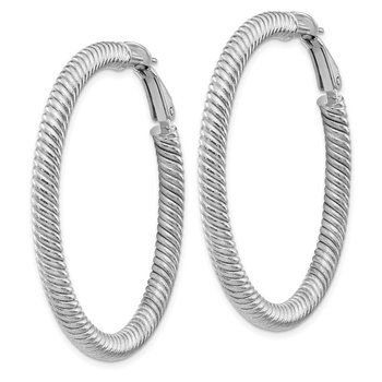 10k 4x35 White Gold Twisted Round Omega Back Hoop Earrings