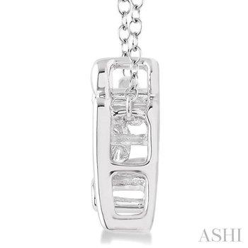 silver emotion mom & child diamond pendant