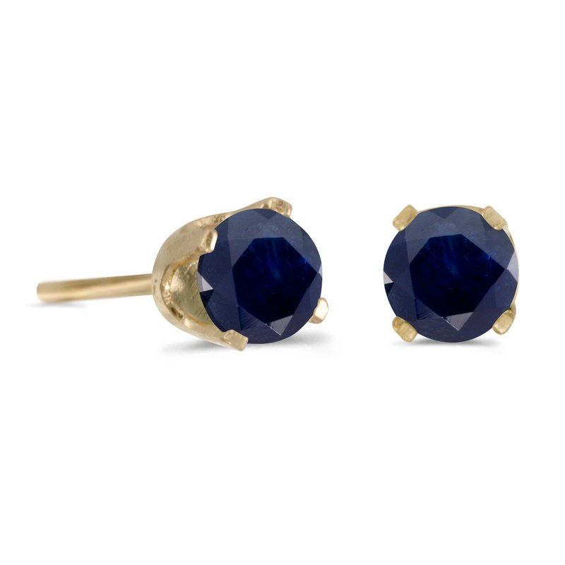 Color Merchants 14k Yellow Gold 4 mm Round Sapphire Stud Earrings
