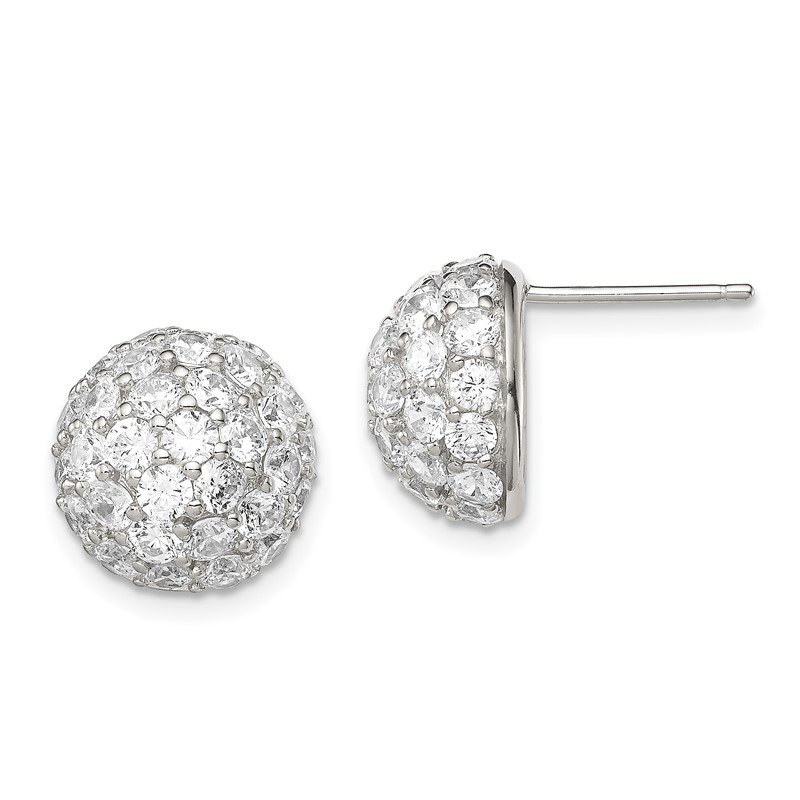 Quality Gold Sterling Silver CZ Button Post Earrings