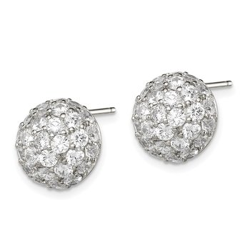 Sterling Silver CZ Button Post Earrings