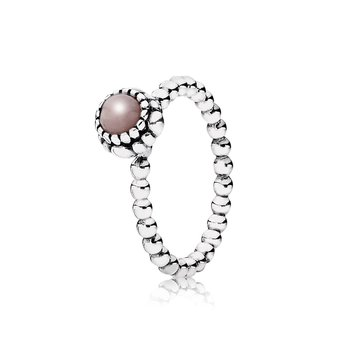 Birthday Blooms Stackable Ring, October, Pink Opal