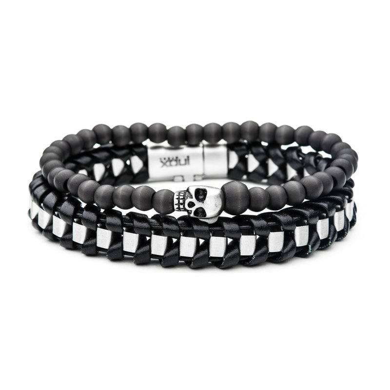 INOX Carbon Skull and Leather Stackable Bracelets