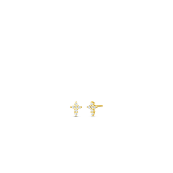 18KT GOLD DIAMOND BABY CROSS EARRINGS