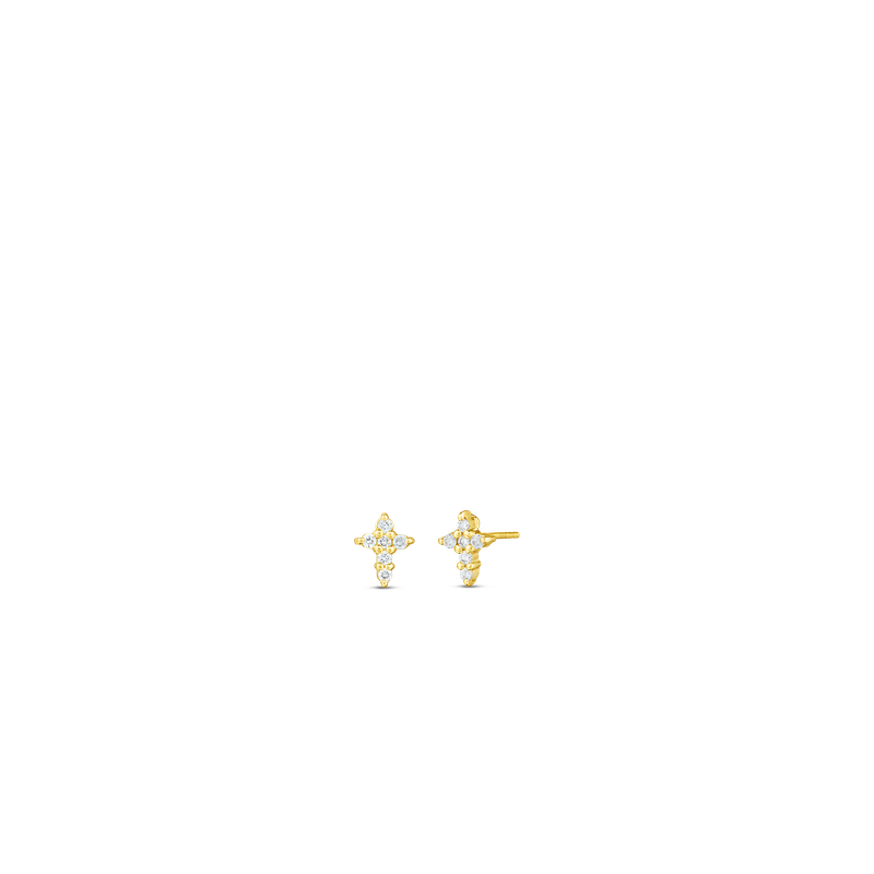 Roberto Coin  #28781 Of 18Kt Gold Diamond Baby Cross Earrings
