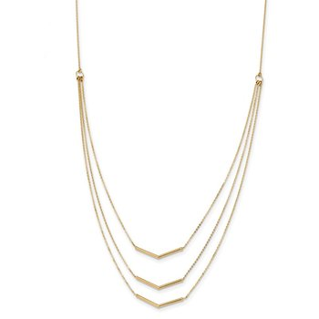 14k Polished 3 Strand w 2in Extension Drop Bar Necklace