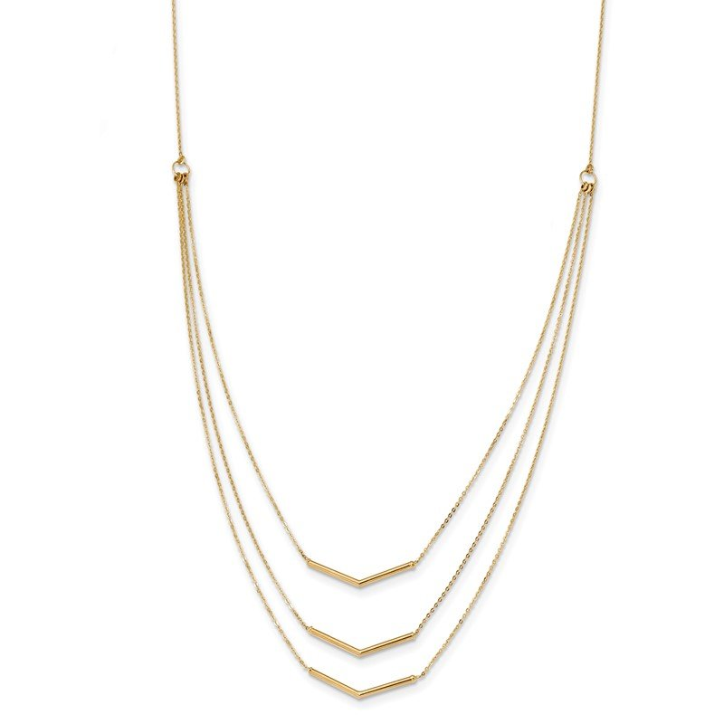Quality Gold 14k Polished 3 Strand w 2in Extension Drop Bar Necklace