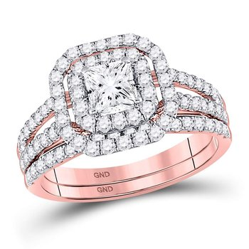 14kt Rose Gold Womens Princess Diamond Bridal Wedding Engagement Ring Band Set 1-1/2 Cttw
