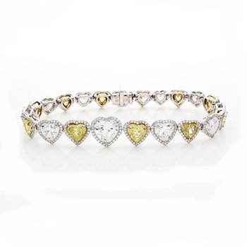 YELLOW AND WHITE HEART SHAPE DIAMOND BRACELET