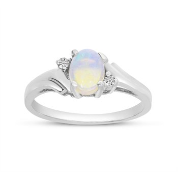 14k White Gold Oval Opal And Diamond Ring