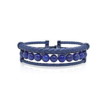 Blue Cable, Blue Lapis, & Blue Leather Bracelet