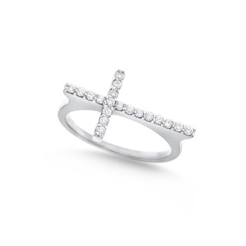 Diamond Side Cross Ring in 14K White Gold with 19 Diamonds Weighing .19ct tw