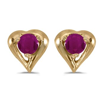 14k Yellow Gold Round Ruby Heart Earrings