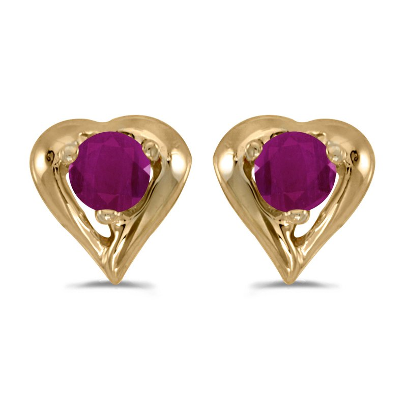 Color Merchants 14k Yellow Gold Round Ruby Heart Earrings