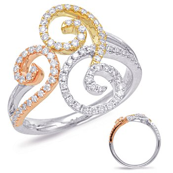 Tri Gold  Mico Pave Ring