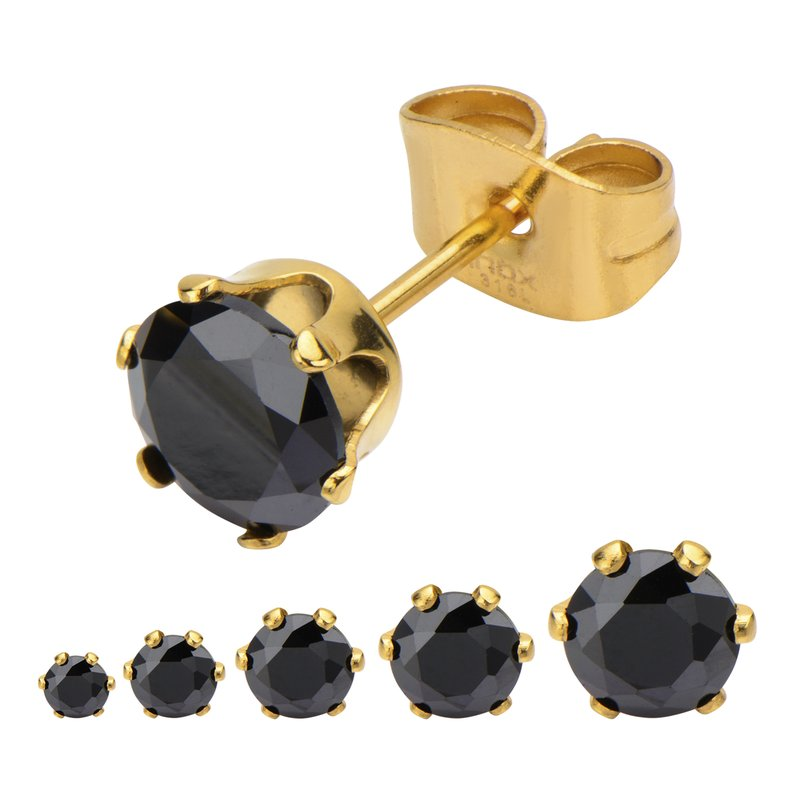 INOX Gold Plated Steel with Black CZ Stud Earrings (Unisex)