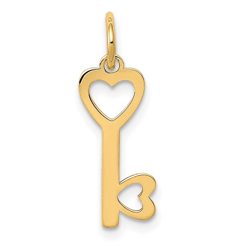 Quality Gold 14K Polished Hearts Key Charm