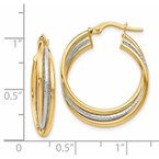 Leslie's Leslie's 14K Two-tone Polished and Textured Twisted Hoop Earrings