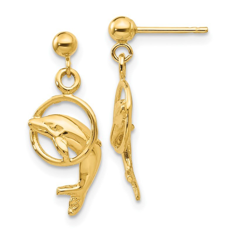 Quality Gold 14k Dolphin Earrings