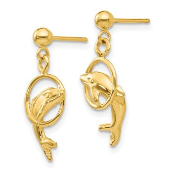 14k Dolphin Earrings