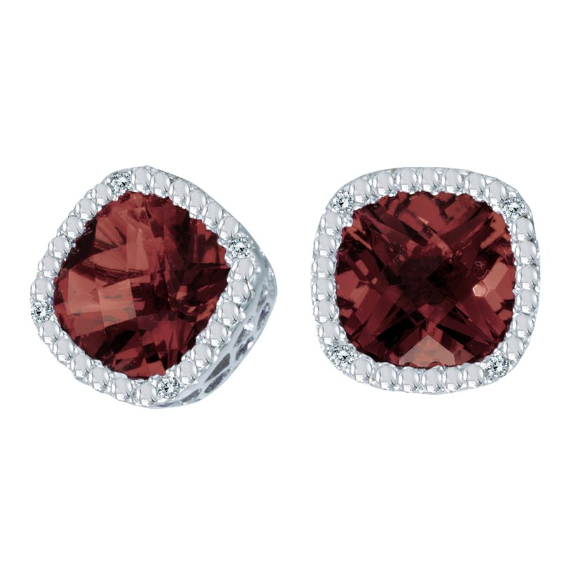 Color Merchants 14k White Gold Cushion Cut Garnet And Diamond Earrings