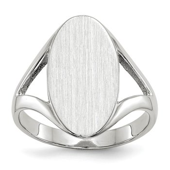 14k White Gold 17.0x9.0mm Closed Back Signet Ring