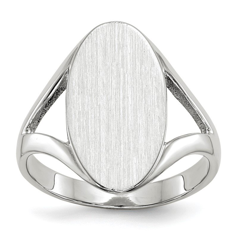 Quality Gold 14k White Gold 17.0x9.0mm Closed Back Signet Ring