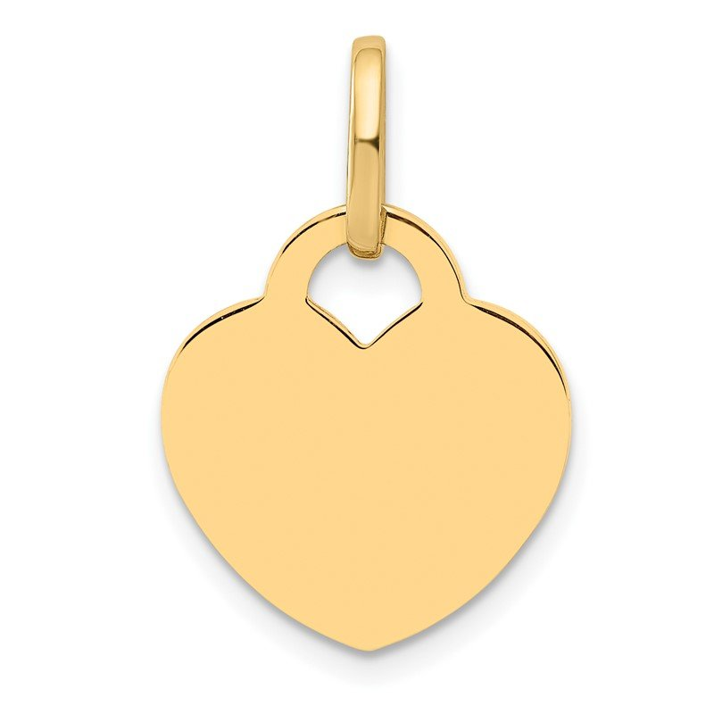 Quality Gold 14K Polished Heart Shaped Disc Pendant
