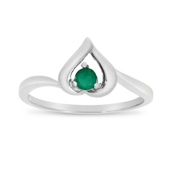 14k White Gold Round Emerald Heart Ring