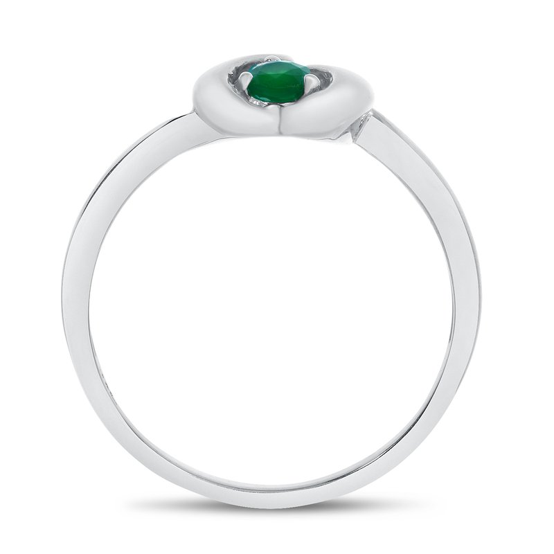 Color Merchants 14k White Gold Round Emerald Heart Ring