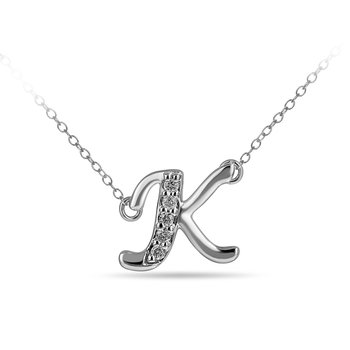 "925 SS and diamond cursive alphabet K ""Chain Sliding "" pendant in prong setting"