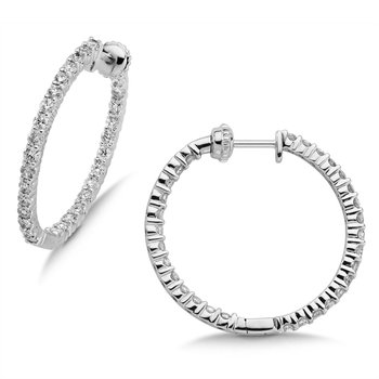 Pave set Diamond Reflection Hoops in 14k White Gold (2ct. tw.) GH/SI1-SI2