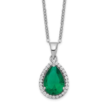 Sterling Silver Rhodium Simulated Emerald & CZ Necklace