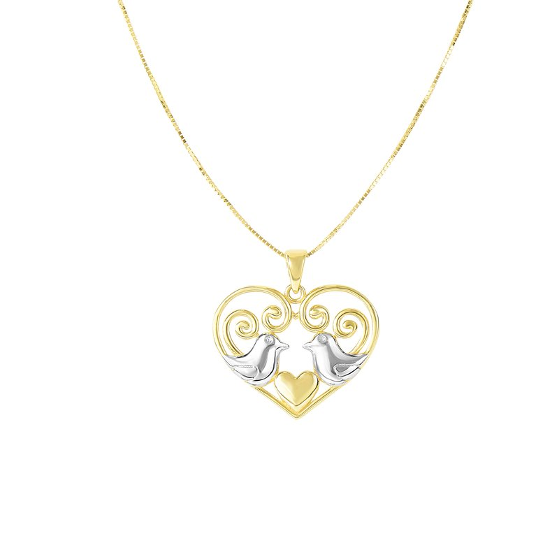 Royal Chain 14K Gold Love Birds Necklace