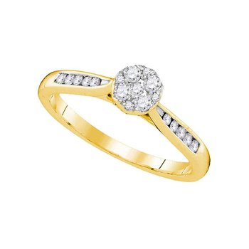 14kt Yellow Gold Womens Round Diamond Cluster Bridal Wedding Engagement Ring 1/4 Cttw