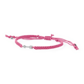 Pink cord, 925 sterling silver and zircons.