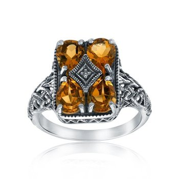 Rectangular-shaped Citrine Ring