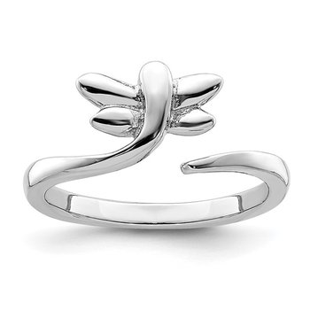 Sterling Silver Rhodium-plated Dragonfly Toe Ring