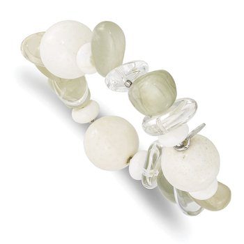 Sterling Silver Coral/Jade/Moonstone/Rock Quartz Stretch Bracelet