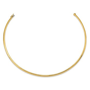 14k 4mm Domed Omega Necklace