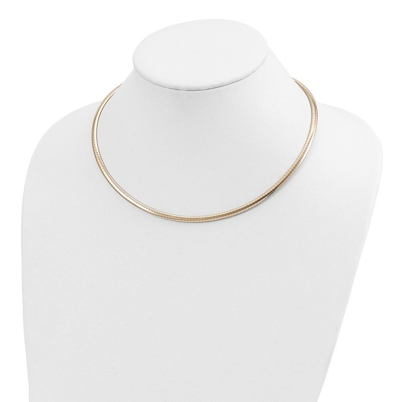 Quality Gold 14k 4mm Domed Omega Necklace