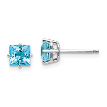 14k White Gold 5mm Princess Cut Blue Topaz Earrings