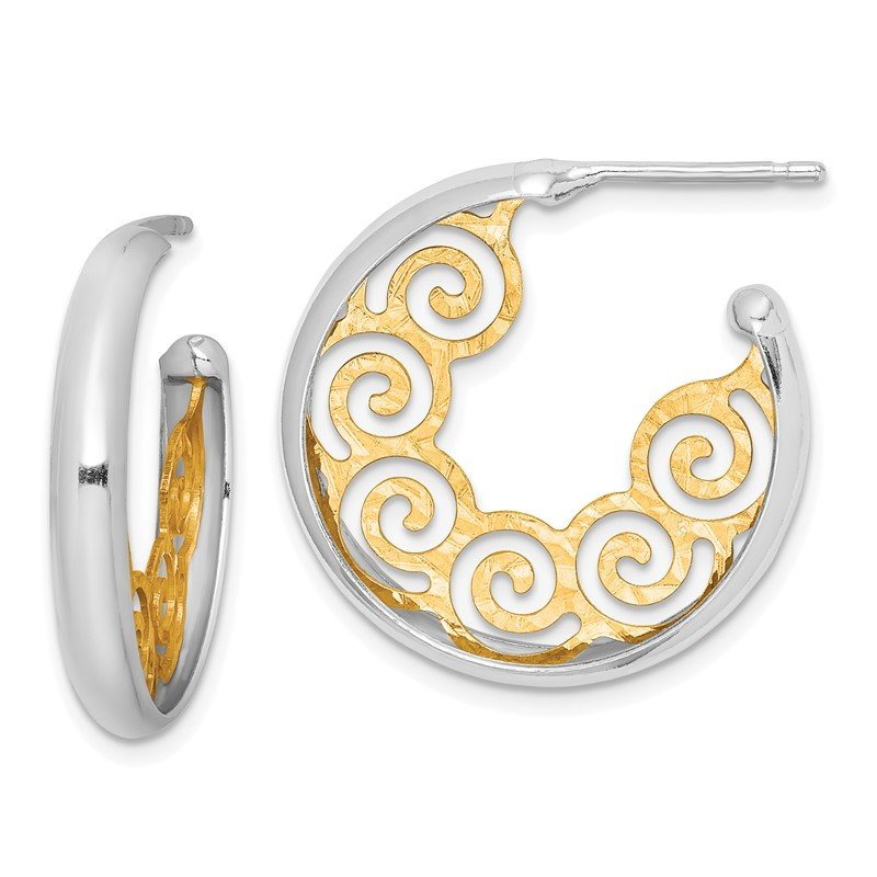 Quality Gold Sterling Silver RH plated & Gold-plated 23x3.5 Swirl Hoop Post Earrings