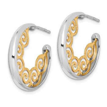 Sterling Silver RH plated & Gold-plated 23x3.5 Swirl Hoop Post Earrings