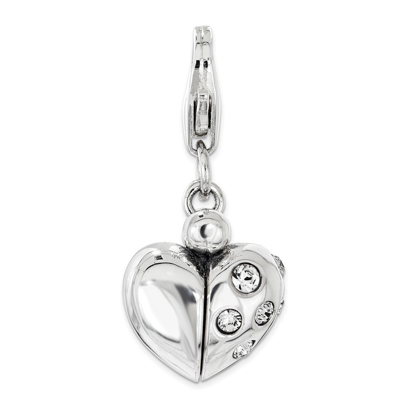 Quality Gold Sterling Silver Swarovski Enameled Heart Opens w/Lobster Clasp Charm