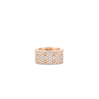 2 Row Square Ring With Diamonds &Ndash; 18K Rose Gold, 7.5