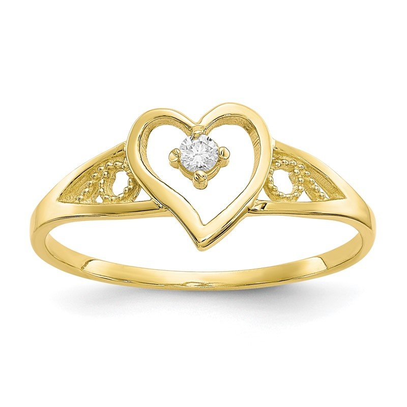 Quality Gold 10k Heart CZ Ring