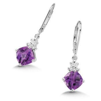 Sterling Silver Amethyst Lever Back Hook Earrings